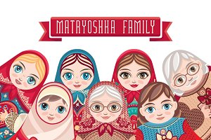 Matryoshka. Babushka doll. Bundle