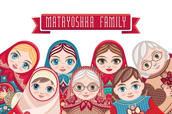 Matryoshka Babushka Doll Bundle