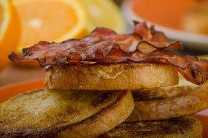 French toast with bacon and fresh juice