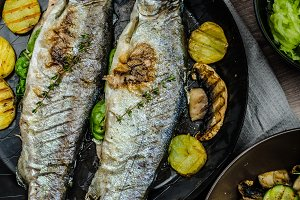 Grilled Trout with Mediterranean vegetables