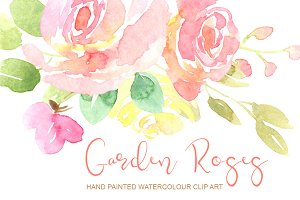 Gentle watercolor roses flowers
