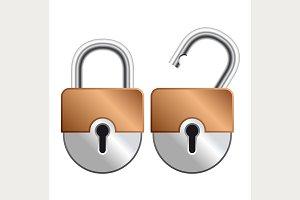 Locked and unlocked Padlock Icon