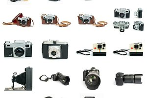 Old vintage cameras and DSLR