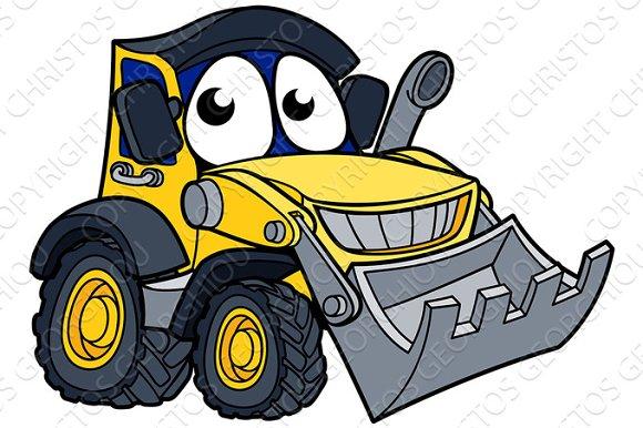 Digger Bulldozer Cartoon Mascot