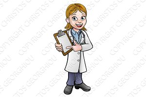 Doctor Cartoon Character Holding Clip Board