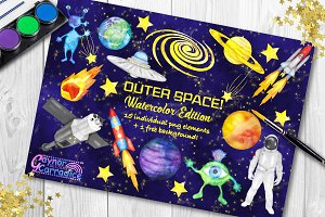 Watercolor space clipart set