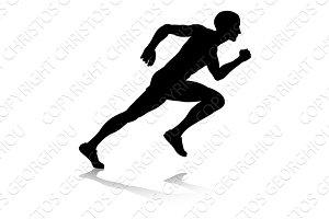 Silhouette Runner Sprinting or Running