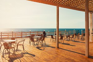 View of the sea from terrace in summer. Gelendzhik, Russia
