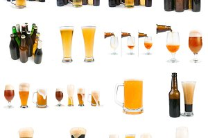 Bottles of beer and beer mug.