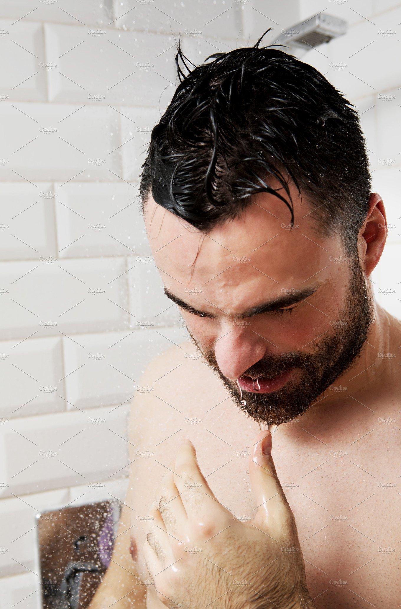 Handsome Naked Man Taking Shower Muscular Man Showering