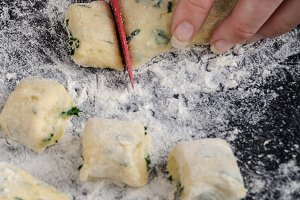 Making of homemade spinach gnocchi