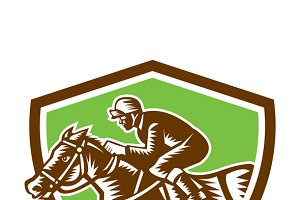 Jockey Horse Racing Shield Retro Woo