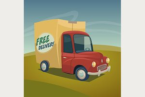 Delivery red truck with box