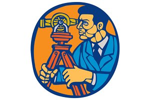 Surveyor Geodetic Theodolite Woodcut