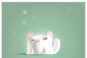 Illustration of a cute funny kitten