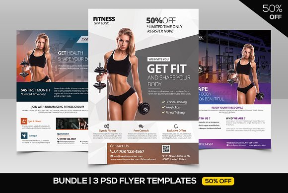 BUNDLE 50% OFF 3 PSD Fitness Flyer