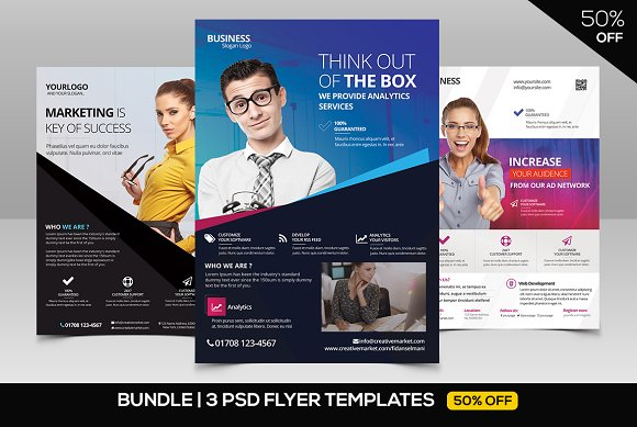 BUNDLE 50% OFF 3 PSD Business Flyers