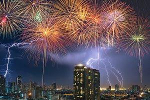 Lightning over the Bangkok cityscape