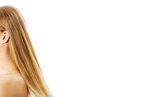 Beautiful long blonde hair, isolated on white.
