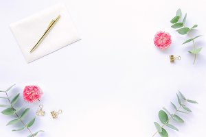 Styled stock photo - roses & herbs