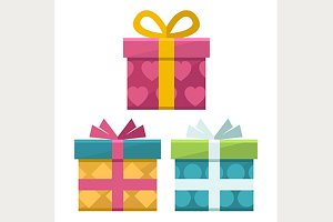 gift boxes flat icons set