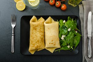 Spinach pancakes with feta cheese