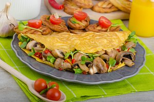 Vegetarian omelet, eat clean