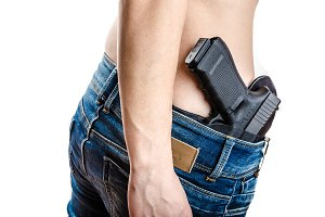 Concealed carry gun in his waistband