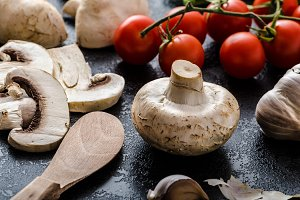 Bio garlic, spices and wild mushrooms from the home garden