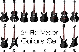 24 flat guitars set
