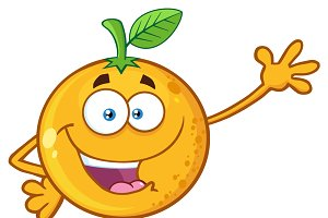 Orange Fruit Waving For Greeting