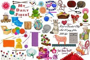 Knit & Crochet Clip Art,47 pngs