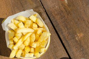 Golden French fries potatoes