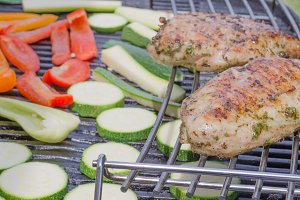 Grilled turkey with roasted vegetable