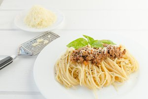 Spaghetti Bolognese on wood table