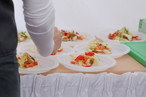 Chef preparing vegetable