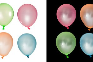 Set of inflated balloons from differ