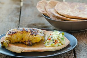 Grilled chicken with naan