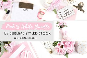 Pink & White Bundle of 22 images