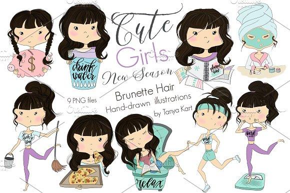 Cute Girls Brunette Hair girls