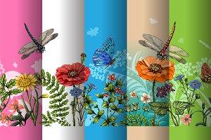 5 Horizontal Floral Banner+Bonus