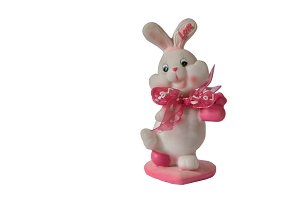 Valentines day bunny toy isolated white background