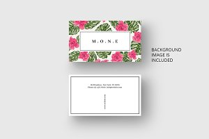 Pink flowers business card template