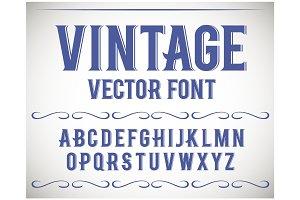 Vintage label font. Alcogol label style.