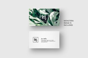 Business card template with monstera
