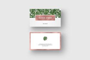 "Business Card ""Monstera & Rosegold"""