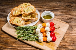 Tomato cheese and bread appetizers