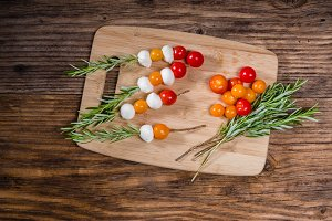 Tomatoes and cheese ball skewers