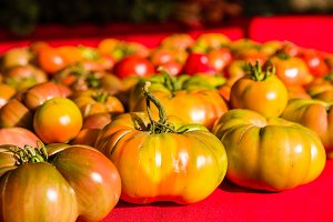 Ripe heirloom tomatoes at the market