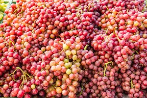 Fresh red grapes at the market